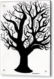 Zen Sumi Tree Of Life Enhanced Black Ink On Canvas By Ricardos Acrylic Print by Ricardos Creations