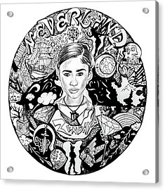 Zendaya's Neverland Black And White Drawing Acrylic Print by Kenal Louis