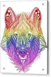 Zentangle Inspired Art- Rainbow Wolf Acrylic Print