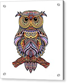 Zentangle Owl Acrylic Print by Suzanne Schaefer