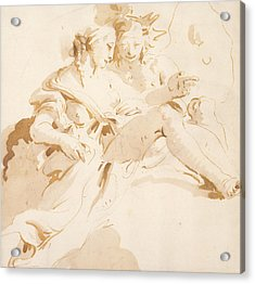 Zephyr And Flora Acrylic Print by Tiepolo