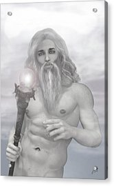 Zeus As Gray Wizard Acrylic Print by Joaquin Abella