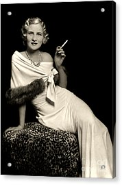 Ziegfeld Model Reclining In Evening Dress  Holding Cigarette By Alfred Cheney Johnston Acrylic Print
