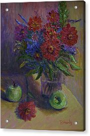 Zinnias And Apples Acrylic Print by Bonnie Hanly