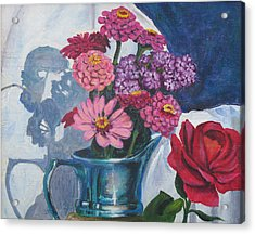 Zinnias And Rose In The Eveing Light  Acrylic Print by Judy Loper