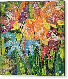 Zinnias Gone Mad Acrylic Print