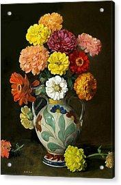 Zinnias In Decorative Italian Vase Acrylic Print