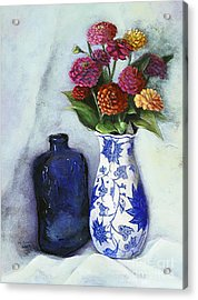 Zinnias With Blue Bottle Acrylic Print by Marlene Book