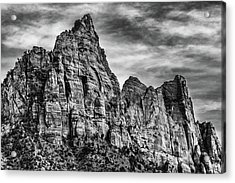 Zion Mountains 2bw  Acrylic Print by Don Risi