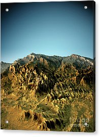Zion National Park 3d View South-north Natural Color Acrylic Print by Frank Ramspott