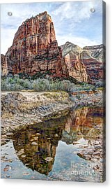 Zions National Park Angels Landing - Digital Painting Acrylic Print