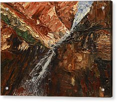 Acrylic Print featuring the painting Zions Waterfall by Jane Autry