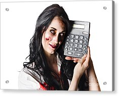 Zombie Finance Worker With Calculator Acrylic Print by Jorgo Photography - Wall Art Gallery