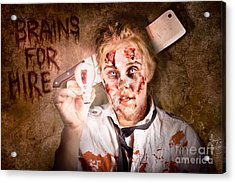 Zombie Holding Bright Light Bulb. Brains For Hire Acrylic Print by Jorgo Photography - Wall Art Gallery