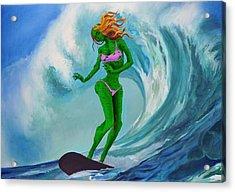 Zombie Surf Goddess Acrylic Print by Geoff Greene
