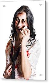 Zombie Woman Distressed Acrylic Print