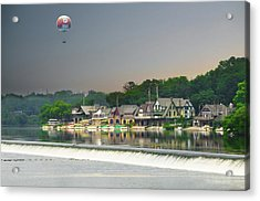 Acrylic Print featuring the photograph Zoo Balloon Flying Over Boathouse Row by Bill Cannon