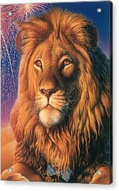 Zoofari Poster The Lion Acrylic Print by Hans Droog