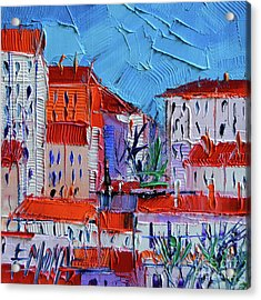 Zoom On Croix-rousse - Lyon France - Palette Knife Oil Painting By Mona Edulesco Acrylic Print