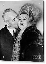 Zsa Zsa Gabor And Herbert Hutner Marry In Judge Streit's Chambers In Nyc. 1962 Acrylic Print by William Jacobellis