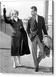 Zsa Zsa Gabor And Porfirio Rubirosa Arrive At Idlewild Airport From Ireland. 1954 Acrylic Print by Barney Stein