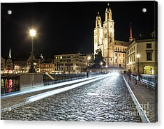 Zurich Night Rush In Old Town Acrylic Print