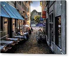 Zurich Old Town Cafe Acrylic Print by Jim Hill