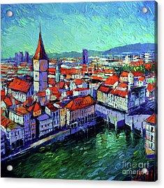 Zurich View Acrylic Print by Mona Edulesco