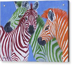 Acrylic Print featuring the painting Zzzebras by Jamie Frier