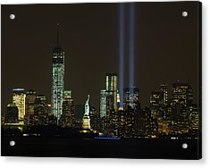 911 Memorial Lights And Statue Of Acrylic Print