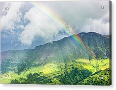 A Rainbow Shines Through Atmospheric Acrylic Print by Kevin G. Smith