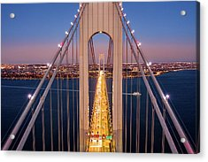 Aerial View Of Verrazzano Narrows Bridge Acrylic Print