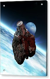 Asteroid Mining, Artwork Acrylic Print by Victor Habbick Visions