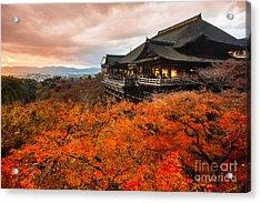 Autumn Color At Kiyomizu-dera Temple In Acrylic Print