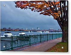 Acrylic Print featuring the photograph Autumn On The Charles River - Boston by Joann Vitali