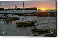 Acrylic Print featuring the photograph Beached Boats At Sunset Cadiz Spain by Pablo Avanzini