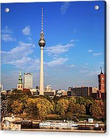 Berlin, Germany Fernsehturm Tv Tower Acrylic Print by Miva Stock