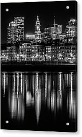 Boston Evening Skyline Of North End And Financial District - Monochrome Acrylic Print