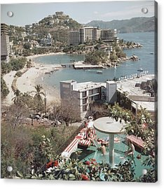 Caleta Beach, Acapulco Acrylic Print by Slim Aarons