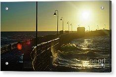 Acrylic Print featuring the photograph Caleta Walkway At Sunset Cadiz Spain by Pablo Avanzini