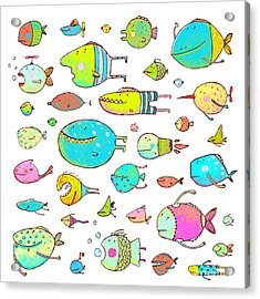 Cartoon Bizarre Fish Collection For Acrylic Print