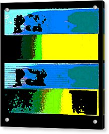 Acrylic Print featuring the digital art Cityscapel 4000 Original Fine Art Painting Digital Abstract Triptych by G Linsenmayer