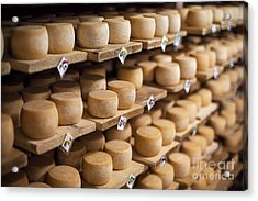 Cow Milk Cheese, Stored In A Wooden Acrylic Print by Maxim Golubchikov
