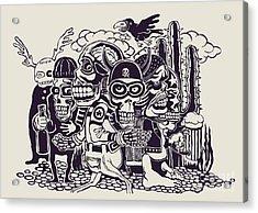 Crazy Persons, Bikers, Skulls And Acrylic Print