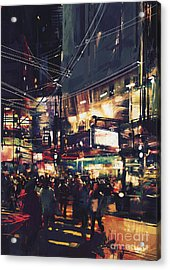 Crowds Of People At A Busy Crossing In Acrylic Print