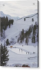 Curling At St. Moritz Acrylic Print by Slim Aarons