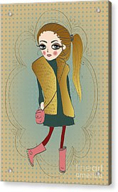 Cute Fashion Little Girl With Frame Acrylic Print