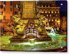 Della Porta Fountain, Piazza Della Acrylic Print by William Perry