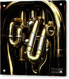 Detail Of The Brass Pipes Of A Tuba Acrylic Print