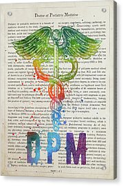 Doctor Of Podiatric Medicine Gift Idea With Caduceus Illustratio Acrylic Print